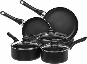 1. AmazonBasics Non-Stick Kitchen Cookware Set, 8-Piece