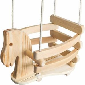 7. Wooden Horse Toddler Baby Swing Set – F