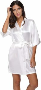 #1.The Bund Women's Short Kimono Pure Colour Satin Robes, Oblique V-Neck