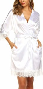 #9. URRU Women's Bathrobe Oblique Robe, Satin Silk,
