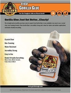 7. Gorilla Clear Glue, 3.75-ounce Bottle (Pack of 1)