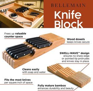 2. Bellemain 100% Pure Bamboo in Drawer Knife Block