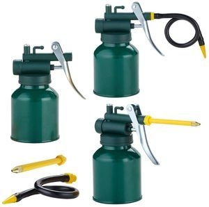 #4 Pump Oil Can Tool, Pistol Oiler Can with 2 Spout Straight & Flexible