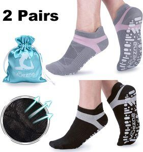 7. Muezna Non-Slip Yoga Socks for Women