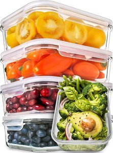 2. Prep Naturals Glass Meal Prep Containers, 5 Pack