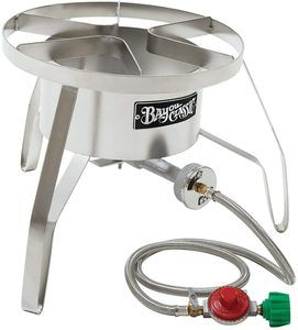 #9. Bayou Classic SS10 High-Pressure Stainless Steel Cooker with Windscreen