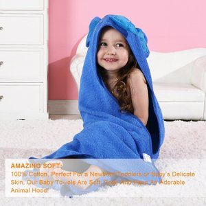 #6 MICHLEY Animal Face Hooded Baby Towel Cotton Bathrobe